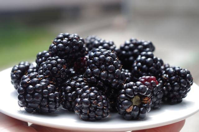 Топ 20 низкокалорийных продуктов: ежевика на тарелке